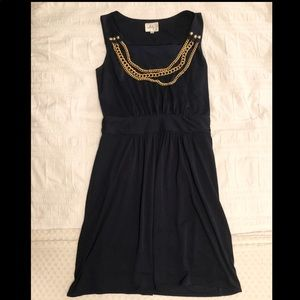Milly Navy Dress with Chain Necklace